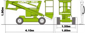 Zelfrijdende knikarm hoogwerker – 12m – diesel